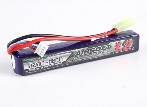 SOFTAIR BATTERIA LIPO TURNIGY NANO-TECH 1200 MAH 25-50C 2 CELL 7.4 V mod. 2